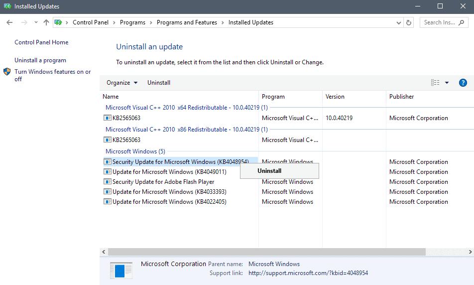 uninstall updates epson printer