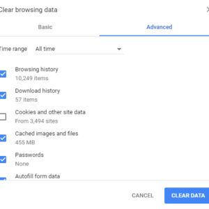 chrome advanced clear browsing data