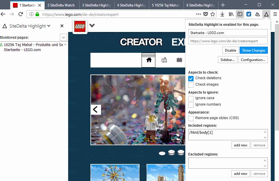 monitor web page configuration