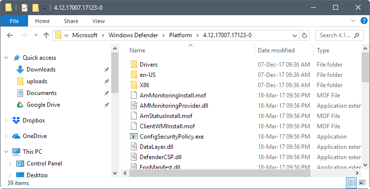 windows defender new paths