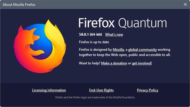 mozilla firefox 58.0.1