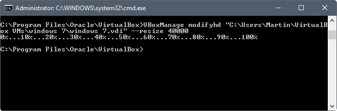 resize virtual machine virtualbox