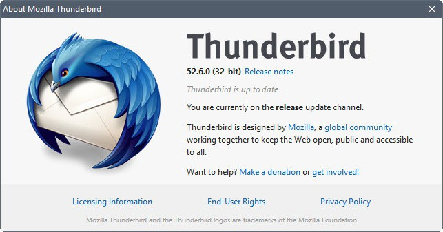 Thunderbird 52.6.0 with security fixes released