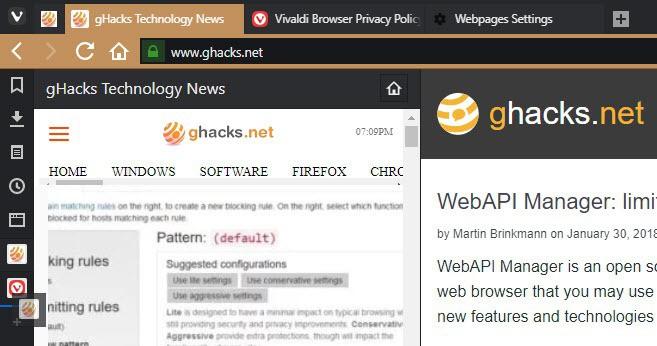 vivaldi drag web panels