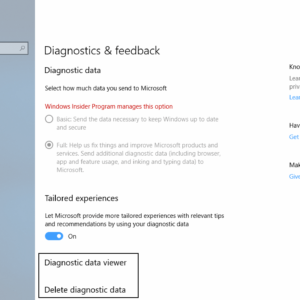 windows 10 view delete diagnostic data