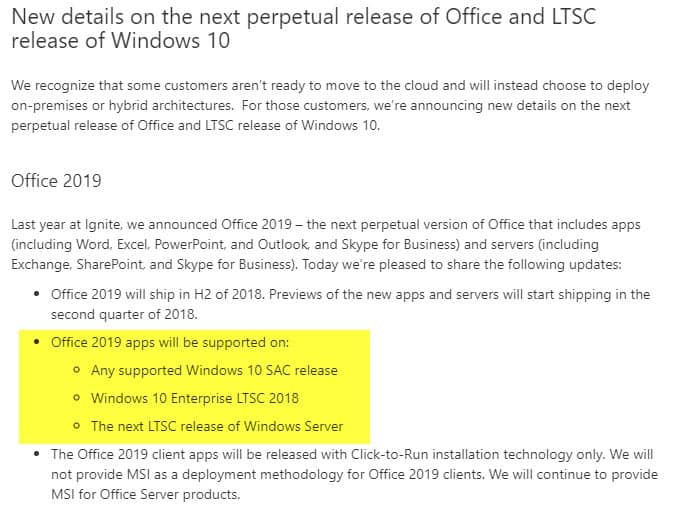 Office 2019 will be Windows 10 exclusive