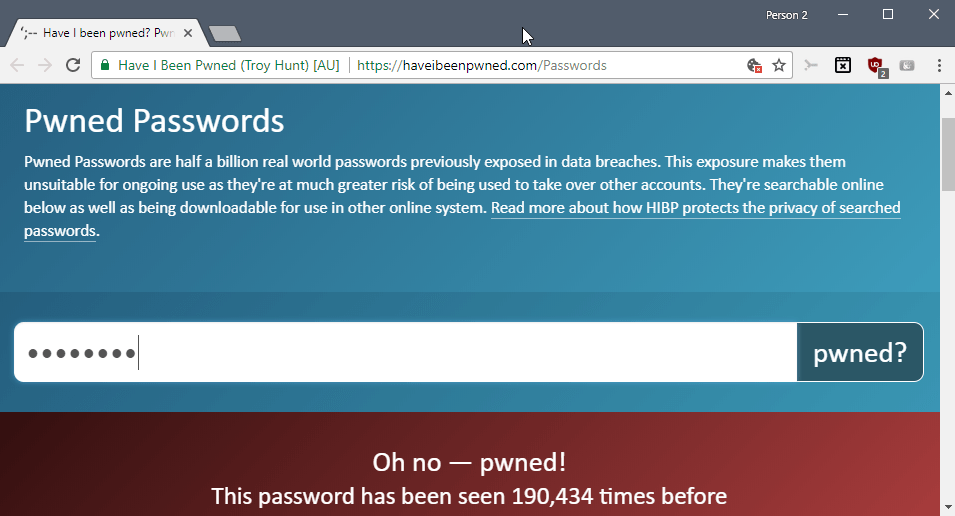 Check your passwords against the Pwned Passwords database