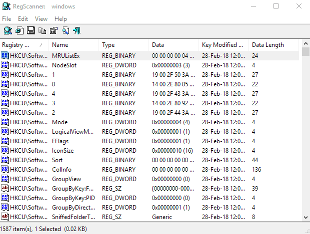 regscanner results