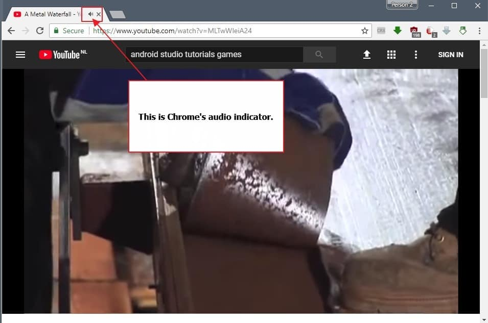 chrome audio indicator
