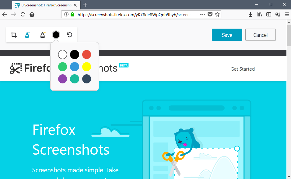 Firefox 59: Firefox Screenshots gets image editing functionality