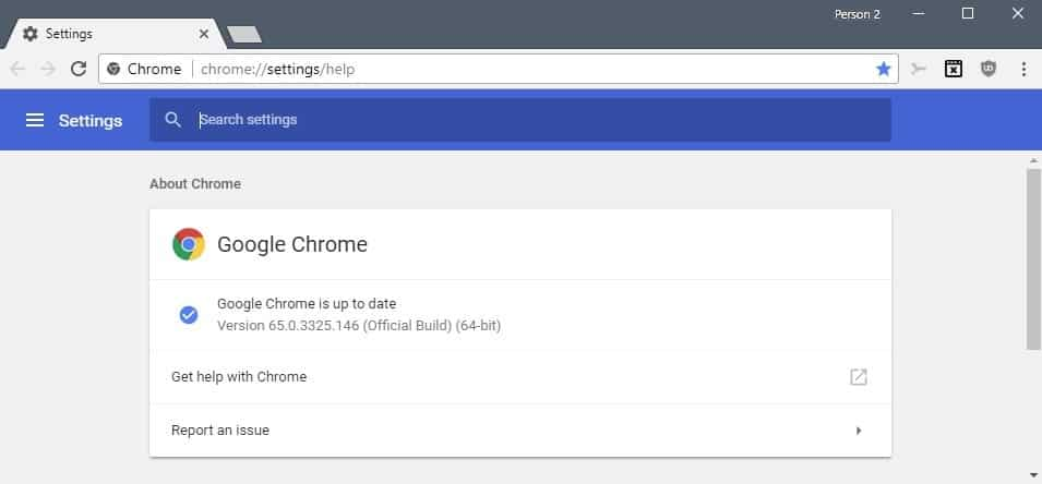 Google Chrome 65 release information