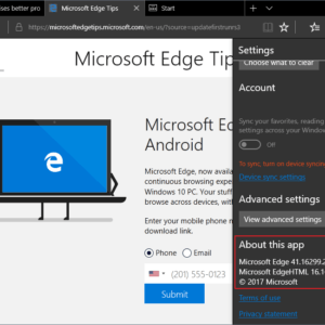 microsoft edge version