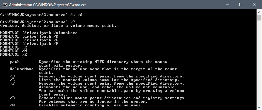 mountvol command prompt