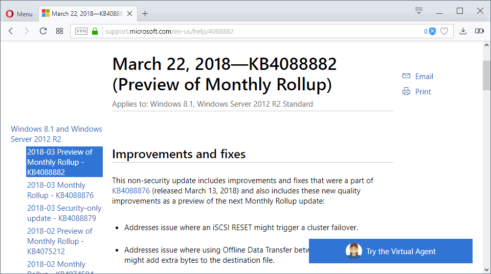 preview monthly rollup updates windows
