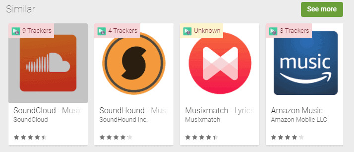 List the trackers that apps use on Google Play