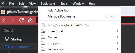 vivaldi bookmarks
