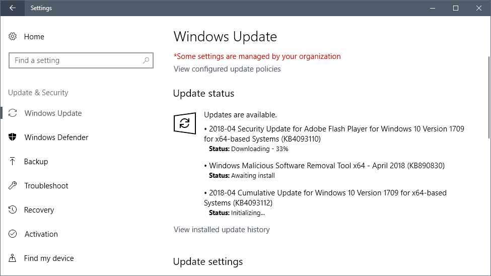 windows updates april 2018