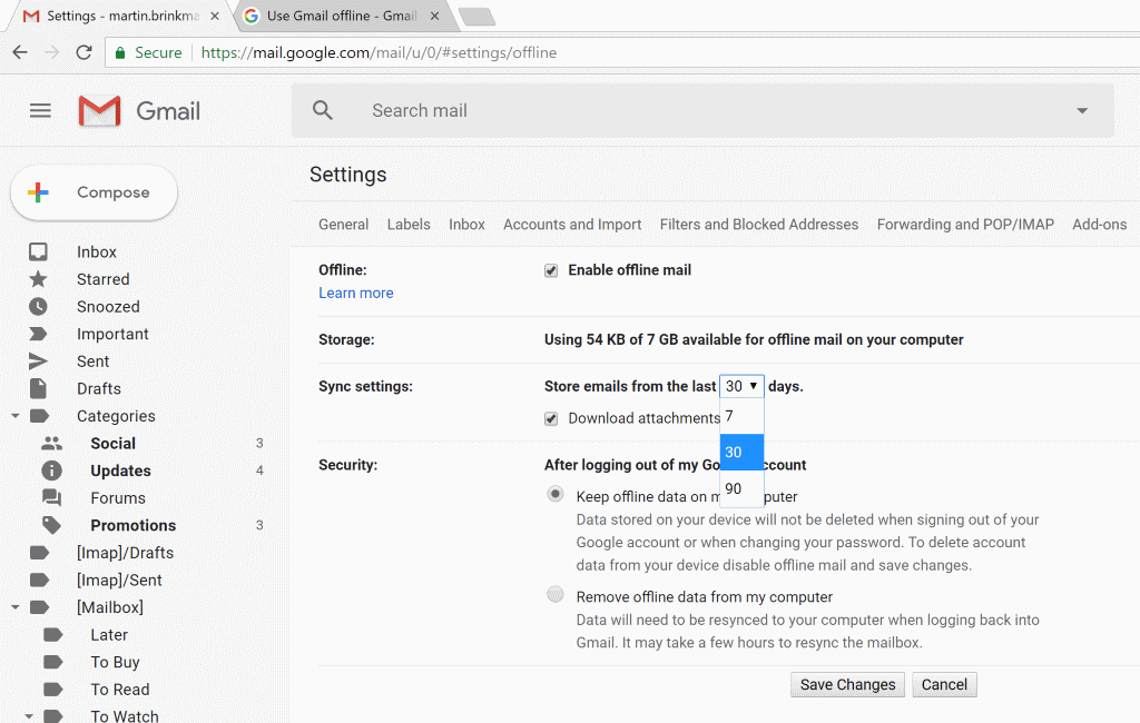 How to configure Gmail offline mail