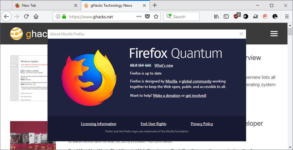 Quantum Engine Firefox >> Firefox 60.0 release overview - gHacks Tech News