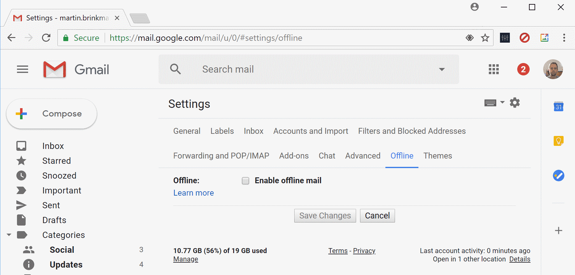 Configure Gmail offline mail