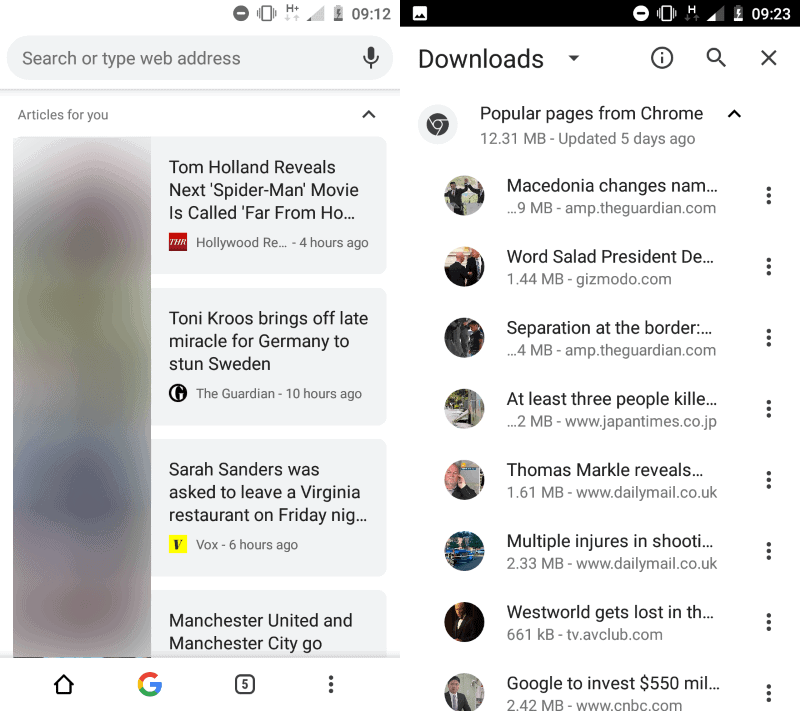 chrome android downloads popular pages
