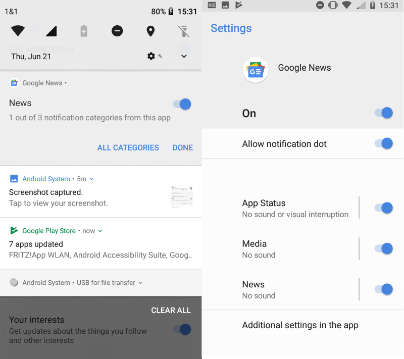google news android notifications