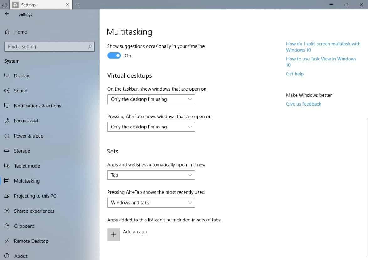 manage tabs windows 10