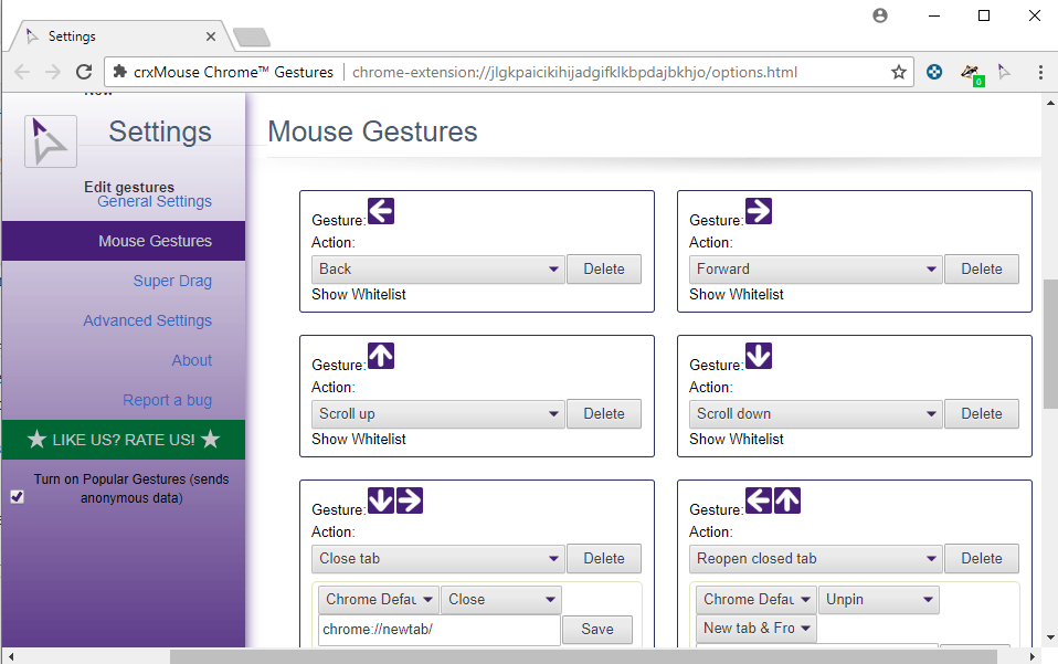mouse gestures chrome