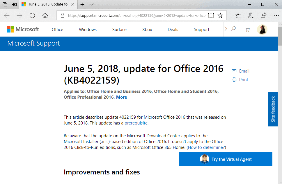 office 2016 june 2018 updates