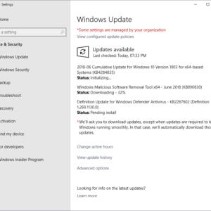 windows updates june 2018