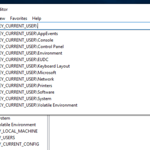 windows 10 registry editor suggestions