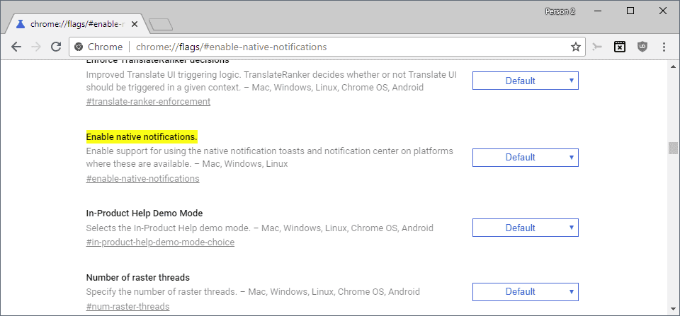 chrome enable native notifications