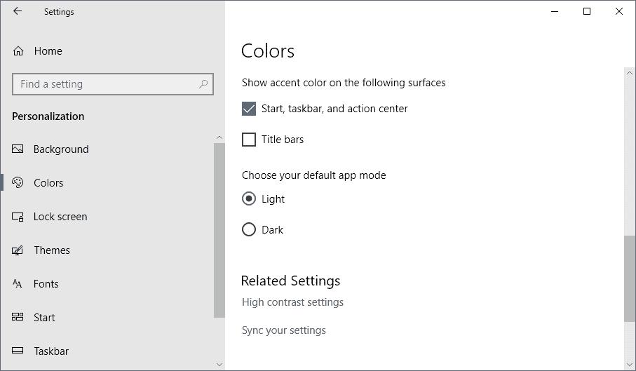 dark app mode windows 10