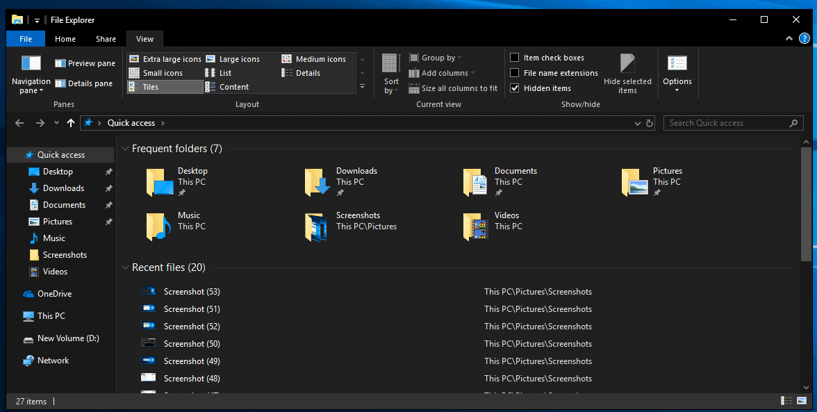 how to get the new dark file explorer windows 10