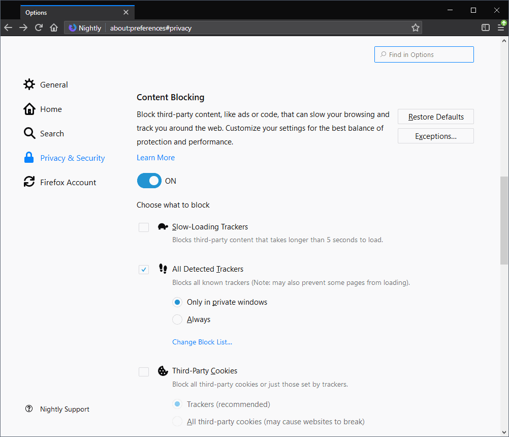 firefox content blocking options