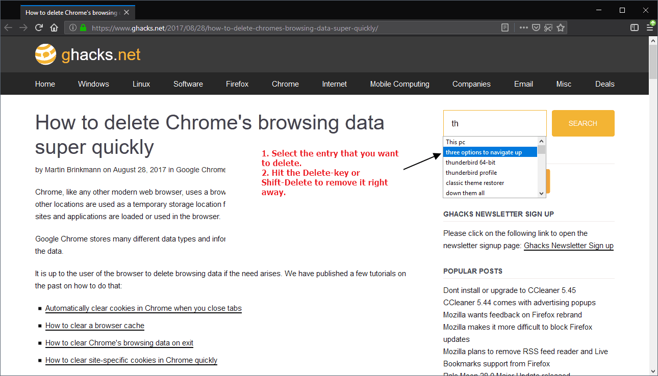 How to delete autocomplete entries in Firefox and Chrome - Browser engine