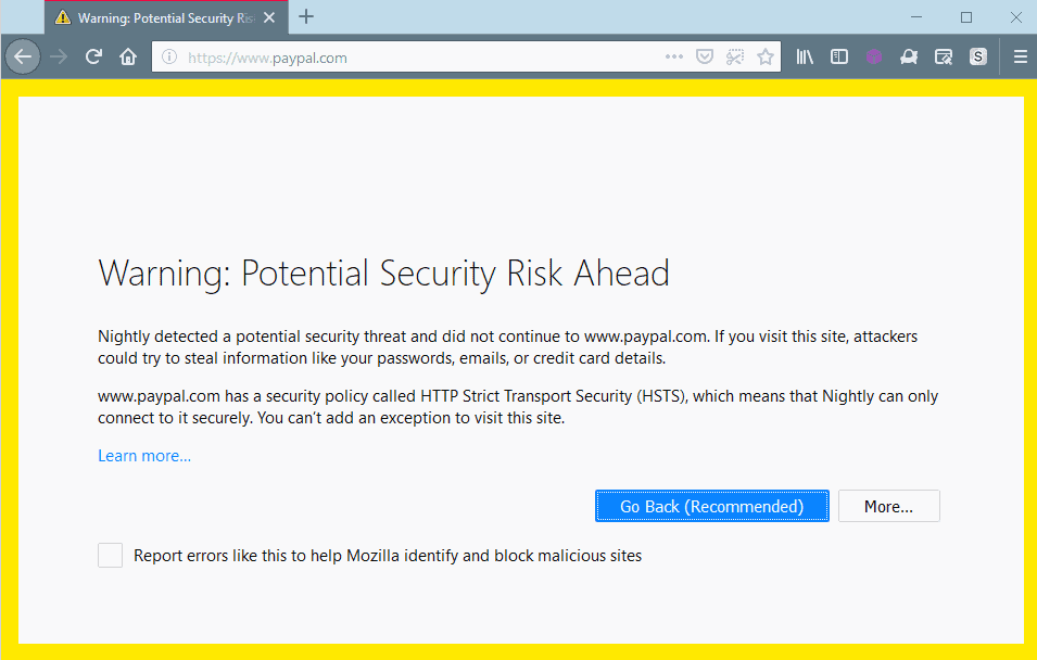 firefox warning security