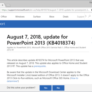 microsoft office 2013 august 2018 updates