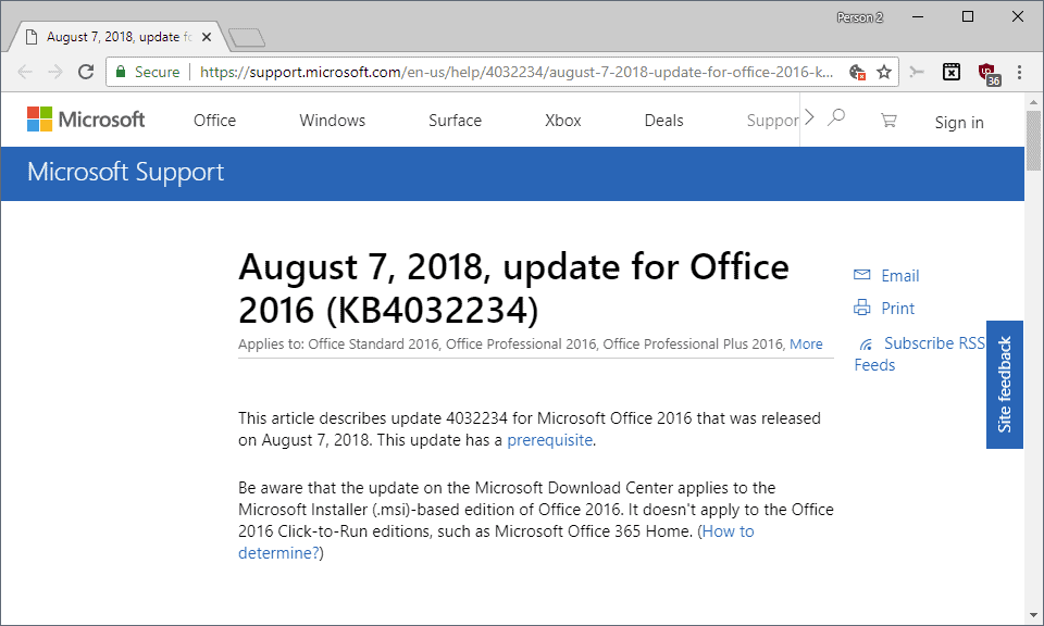 Microsoft releases August 2018 non-security Office updates