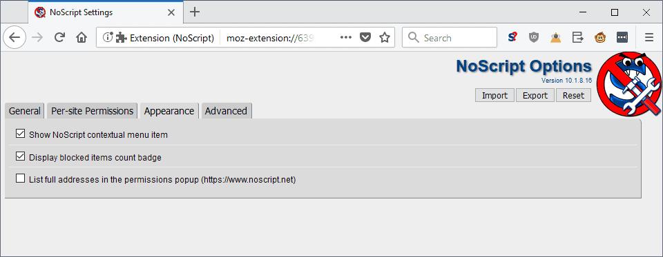 noscript options explained