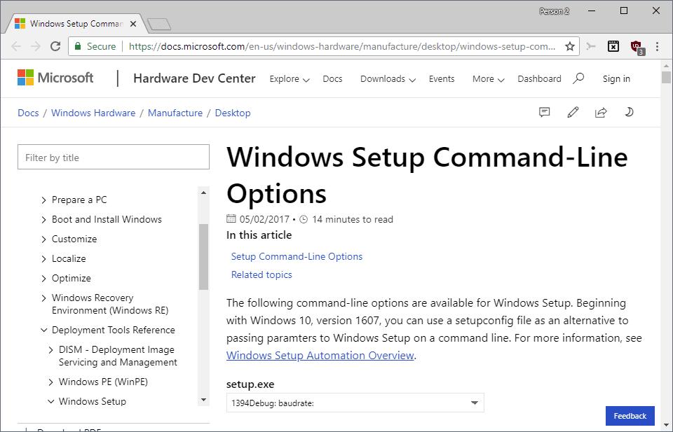 Windows 10 Setup Command Options
