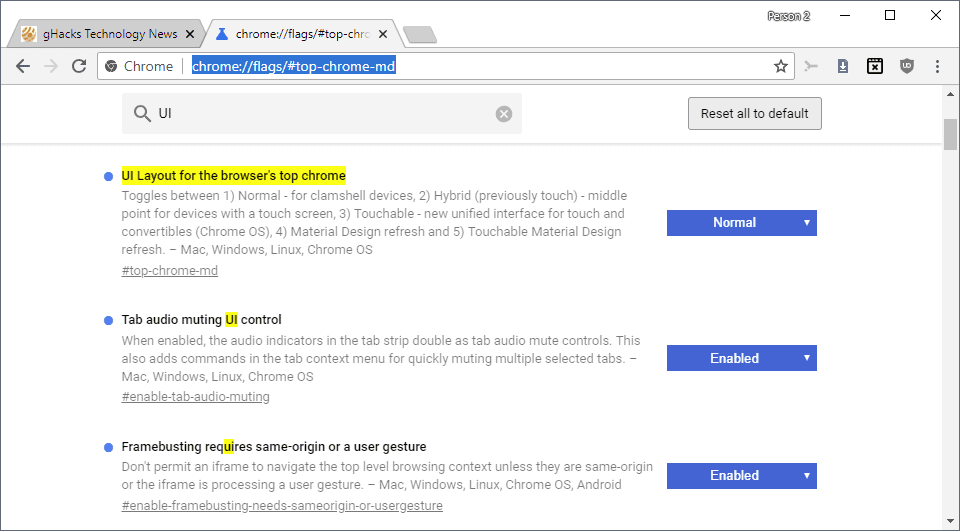 how to restore the old google chrome design