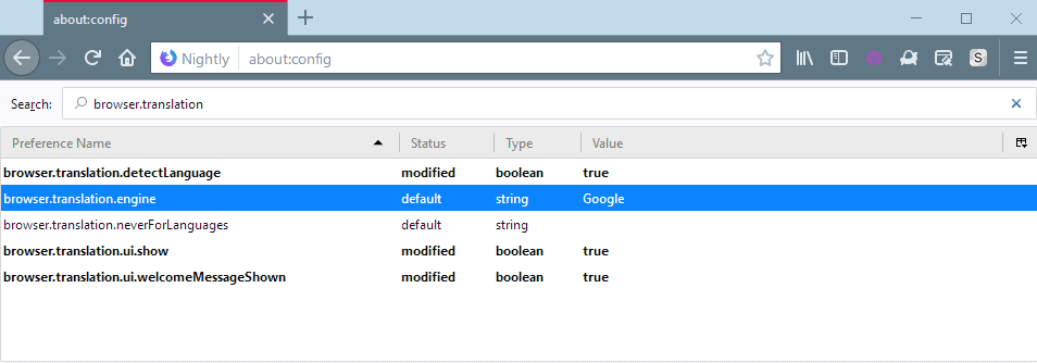firefox translation engine google