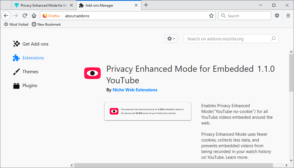 privacy-enhanced mode firefox youtube