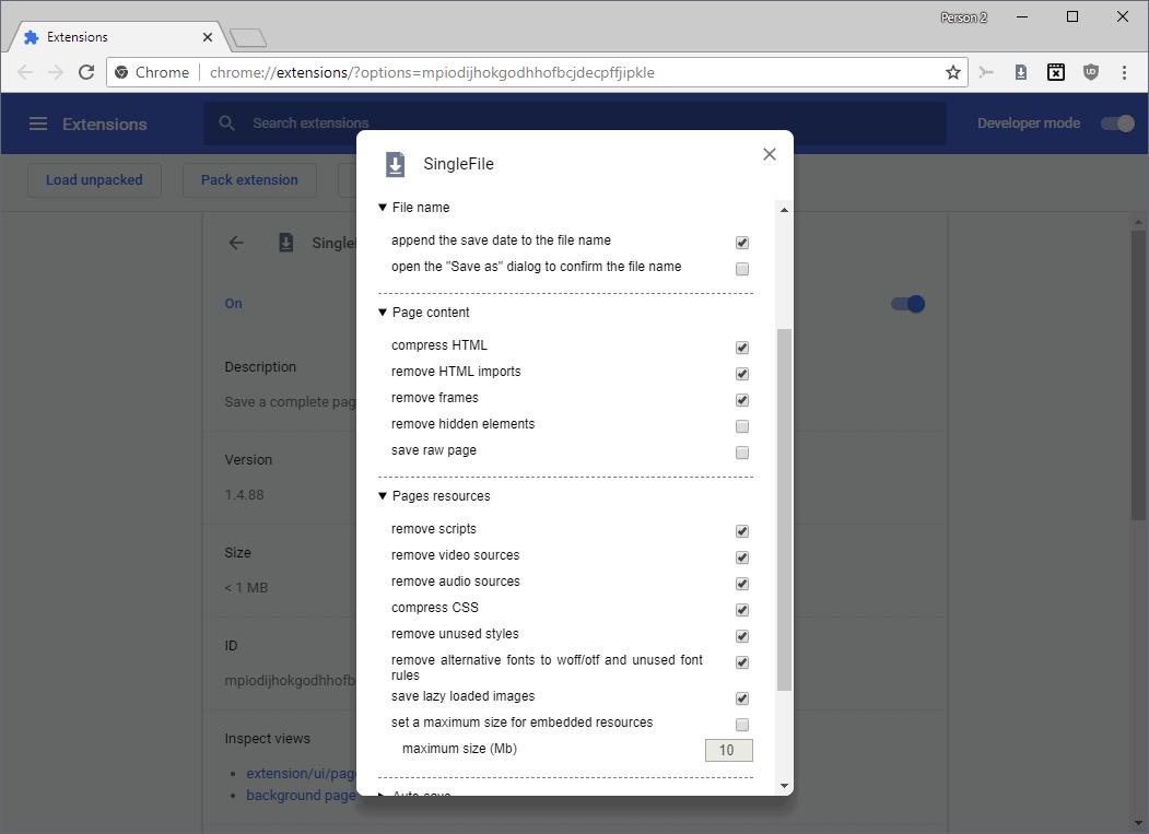 singlefile options