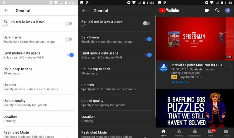 how to get dark theme for youtube